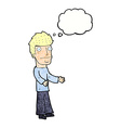 Cartoon confused man with thought bubble vector image