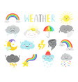 cartoon weathers items for kids vector image vector image