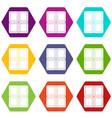 chocolate piece icon set color hexahedron vector image vector image