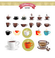 coffee and tea cups symbols for fast food or vector image