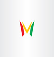 colorful letter m red green yellow icon logo vector image vector image