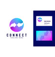 connect logo and business card template two vector image