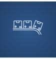 Conveyor belt for parcels line icon vector image vector image