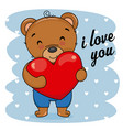 cute bear with heart in hand vector image vector image