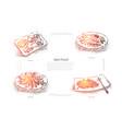 delicious marine dishes shrimp tuna fish vector image