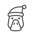 duck wearing santa hat outline icon editable vector image vector image