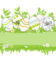 easter eggs in the grass frame space for text vector image vector image