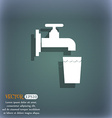 faucet glass water icon symbol on the blue-green vector image