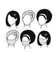 female portraits wearing medical masks vector image vector image