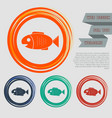 fish icon on the red blue green orange buttons vector image vector image