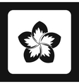 Frangipani flower icon simple style vector image