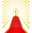 golden statue red carpet vector image