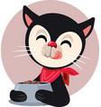 happy cartoon cat eating delicious food vector image vector image