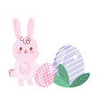 happy easter day rabbit with eggs decoration vector image vector image