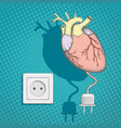 human heart with an electric plug and socket vector image vector image