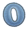 Jeans alphabet Denim number 0 vector image vector image