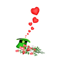 Many Little Hearts in A Green Hat vector image