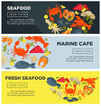 marine cafe with fresh seafood advertisement on vector image vector image