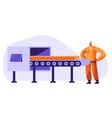 metallurgy worker watching on conveyor belt vector image