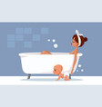 mother relaxing taking a bath vector image vector image