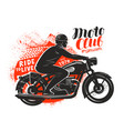 motor club banner or poster biker rides a retro vector image vector image