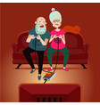 old gamers seniors adults couple playing video vector image vector image
