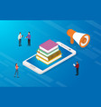 online education concept with books and vector image