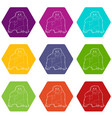 orangutan icons set 9 vector image vector image