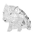 piggy coloring book for adults piggy coloring vector image vector image