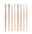 realistic artist paintbrushes set fan flat vector image vector image