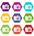 retro camera icons set 9 vector image
