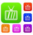 retro tv set collection vector image vector image