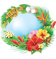 Round banner from tropical flowers and leaves vector image vector image