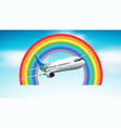 scene with airplane flying in sky vector image vector image