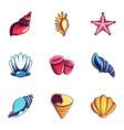 seashell icons set cartoon style vector image vector image