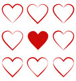 set hearts with calligraphic stroke symbol love vector image