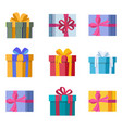 set nine gift boxes with bows vector image