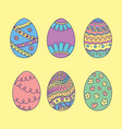 set of doodle easter eggs color hand drawn easter vector image