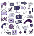 set of line icons social networks internet modern vector image