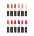 set of lipstick for make up in varied color vector image vector image