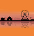 silhouette of amusement park with reflection vector image vector image