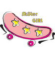 skateboarding pink logo with stars line art vector image