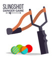 slingshot cartoon slingshot icon vector image vector image