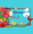 spring time sale background with colorful flowers vector image