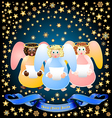 three Christmas angels vector image