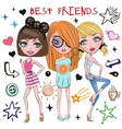 Three Cute girls vector image vector image