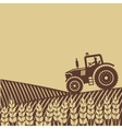 tractor in field vector image vector image