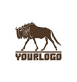 wildebeest logo sign on white vector image vector image