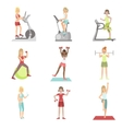 Women Training In Gym Set vector image vector image