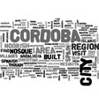 a day trip to cordoba spain text word cloud vector image vector image